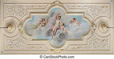 plafond, fresque, décoré
