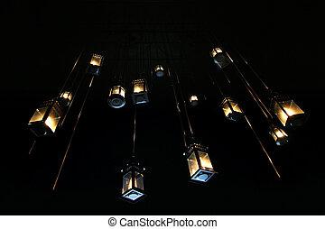 plafond, hanglamp, beurt, gloeilamp, ouderwetse