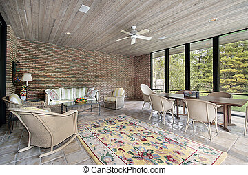 plafond, hout, portiek