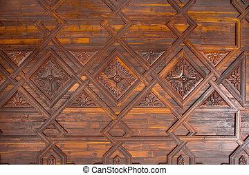 plafond, la, cruz, hout, coffered, kerstman, palma, de