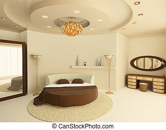 plafond, lit, luxueux, chambre à coucher, suspendu, rond