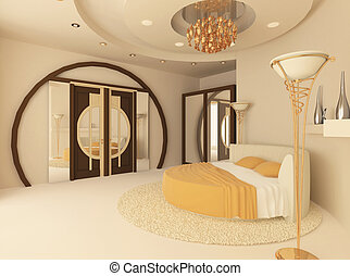 plafond, lit, luxueux, suspendu, chambre à coucher, rond
