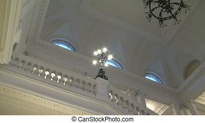 plafond, lustre, blanc