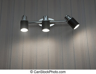 plafond, mur, moderne, deux, lumières, monté