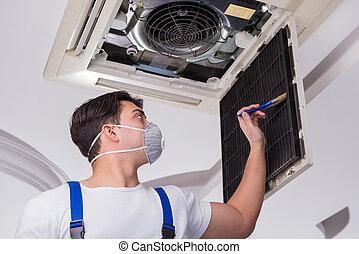 plafond, ouvrier, conditionnement, air, unité, réparation