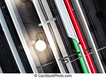 plafond, pouvoir électrique, communication, canaux transmission, système, conduits, lampes, monté
