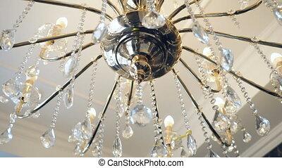 plafond, restaurant, élégant, luxe, lustre