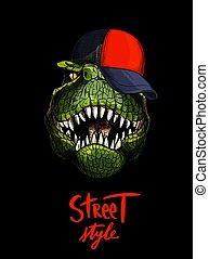 plafond rouge, t-rex, style, écrit, au-dessous, rue, main