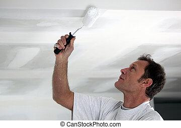 plafond, sien, peinture, blanc, homme