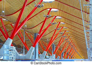 plafond, structuur, van, barajas, internationale luchthaven,...