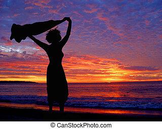plage, à, coucher soleil