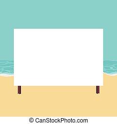 plage, écrire, paysage, carte