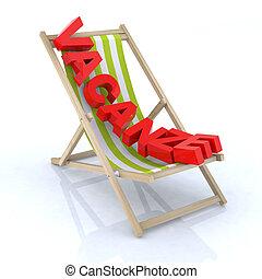"""plage, écrit, chaise, """"vacanza"""""""
