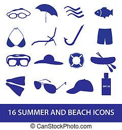 plage, été, ensemble, eps10, icône