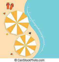 plage, été, fond, à, parapluie