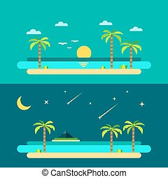 plage, été, paradis, conception, plat