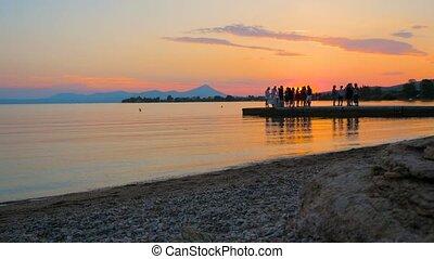 plage, événement, gens, coucher soleil, fetes, seaside., ...