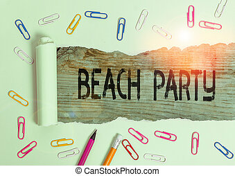 plage., événement, photo, organiser, plage, partie., grand groupe, texte, conceptuel, projection, signe