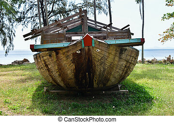 plage., île, voyage, asie, rochers, exotique, bateau, fond, thaïlande, côte, paysage