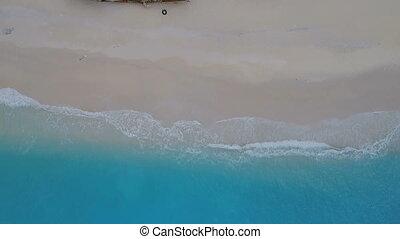 plage, aérien, naufrage, zakynthos, métrage, baie, navagio