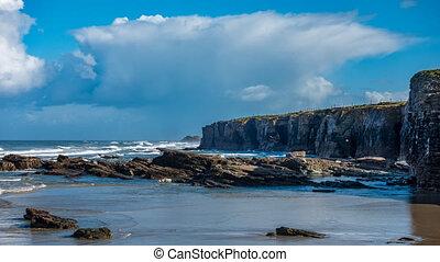 plage, accidenté, rochers, cathédrale, littoral, ...