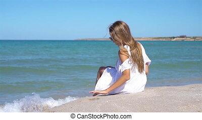 plage, adorable, vacances, pendant, girl, peu, été