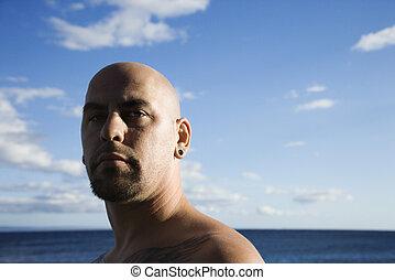 plage., adulte mâle, chauve