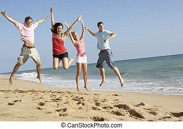 plage, amis, apprécier, vacances, groupe