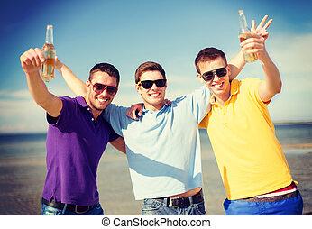 plage, amis, boisson, bouteilles, mâle