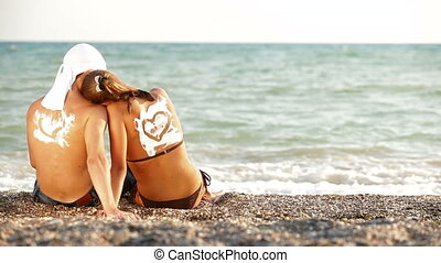 plage, amour, couple