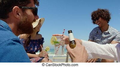 plage, amusement, 4k, groupe, amis, avoir