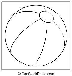 plage, app., contour, plat, toile, élevé, vecteur, qualité, unique, balle, conception, icon., symbole, mobile, ou