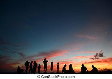 plage, apprécier, coucher soleil, gens