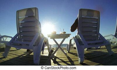 plage, apprécier, couple, été