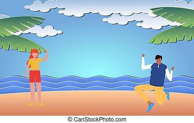plage, apprécier, couple