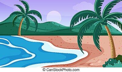 plage, arbres, scène nature