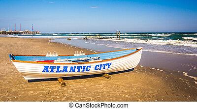 plage, atlantique, canot de sauvetage, jersey., ville, nouveau