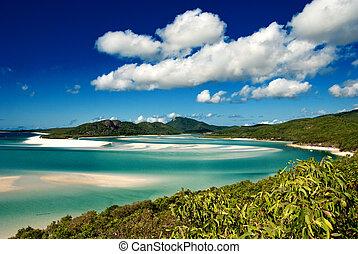 plage, australie, whitehaven