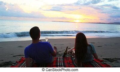 plage, avoir, pique-nique famille