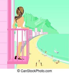 plage, bâtiments, femme, stands, gens, hôtel, jeune, océan, regarder, montagnes, long, côte, route, balcon