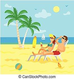 plage, bains de soleil, délassant, été, couple, gens