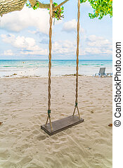 plage, balançoire