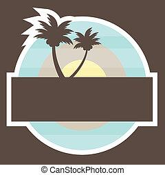 plage, banner., vecteur, exotique