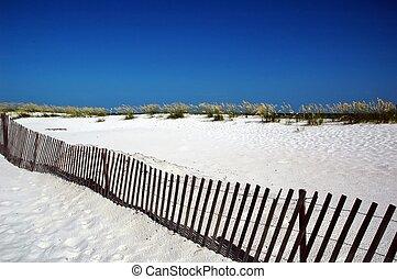 plage, barrière