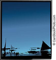 plage, bateaux, fond, océan, vecteur