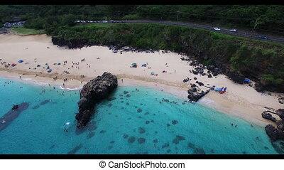 plage, blanc, vue, sommet, sablonneux, nageurs, entiers