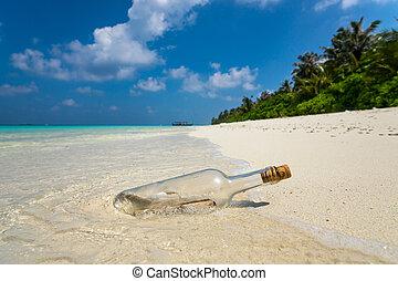 plage., bouteille, lavé, exotique, à terre, message
