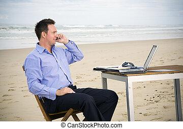 plage, bureau, homme affaires