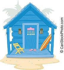 plage, cabine