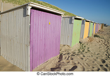 plage, cabines
